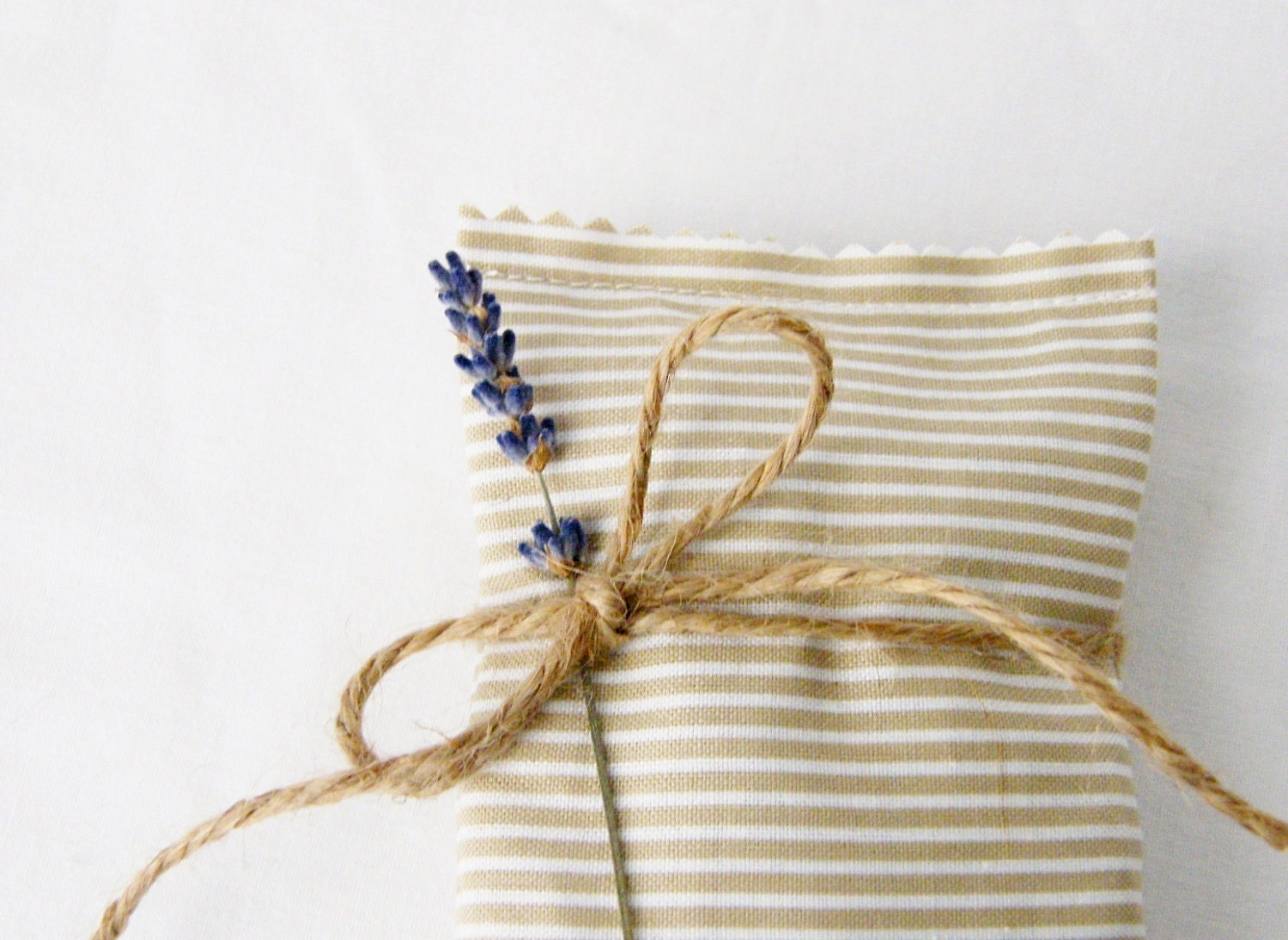 Lavender Sachets, Tan Stripes, Fresh Spring, Set of 2