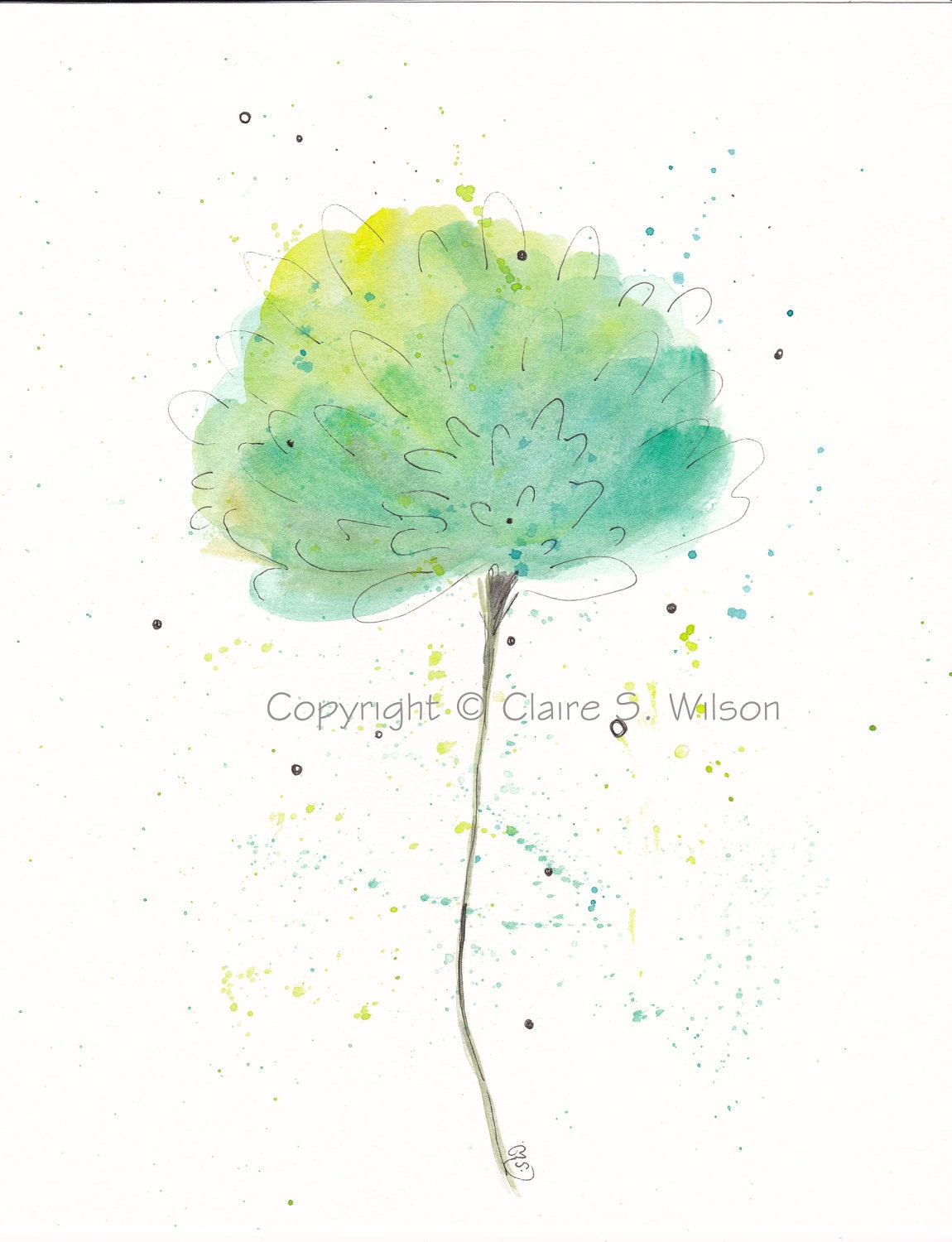Mint Dream - Original watercolor 8x10 - SALE - claireswilson