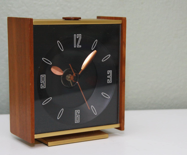 Vintage Mid Century Modern Desk Alarm Clock Square Dial - WittsWicksAndKnits