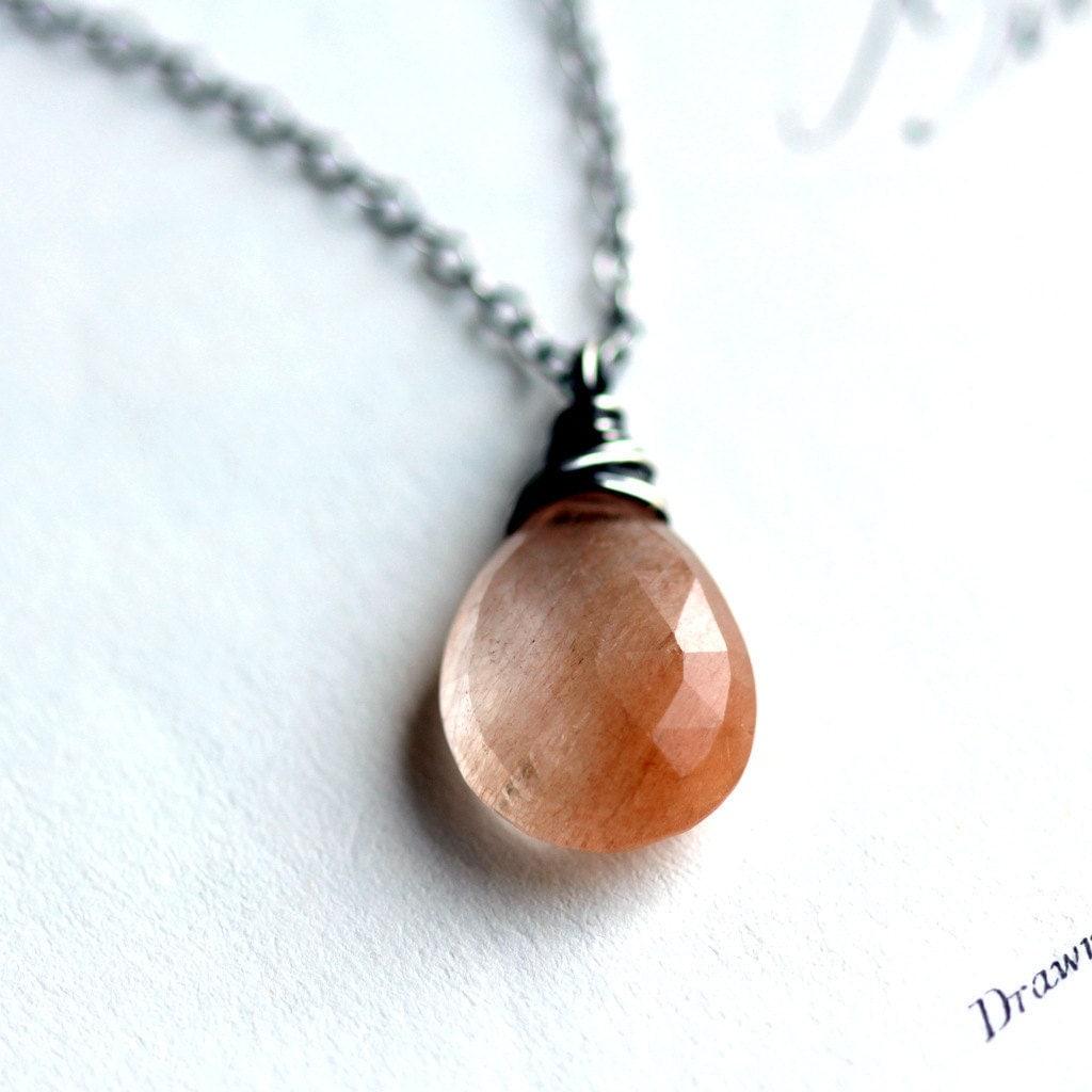 Peach Ombre Necklace Copper Rutilated Quartz Wire Wrapped in Sterling Silver Modern Fashion - JarosDesigns