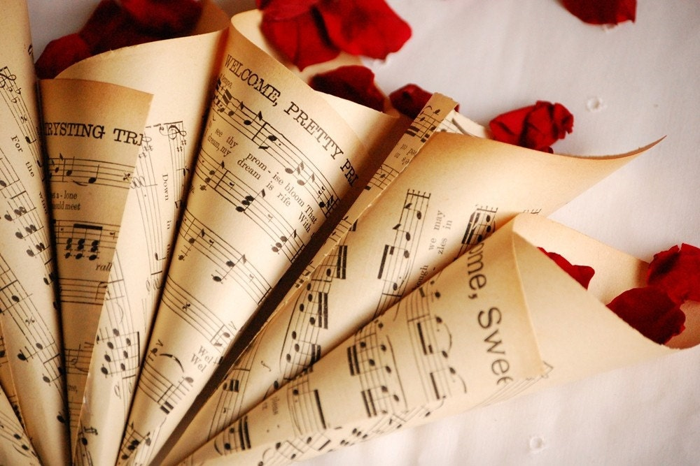 Vintage Music Sheet Confetti Cones