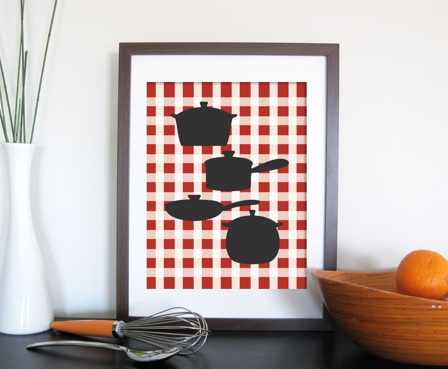Kitchen Art Print- Checkered Background, 8X10 Inches, Choose your print, Other sizes
