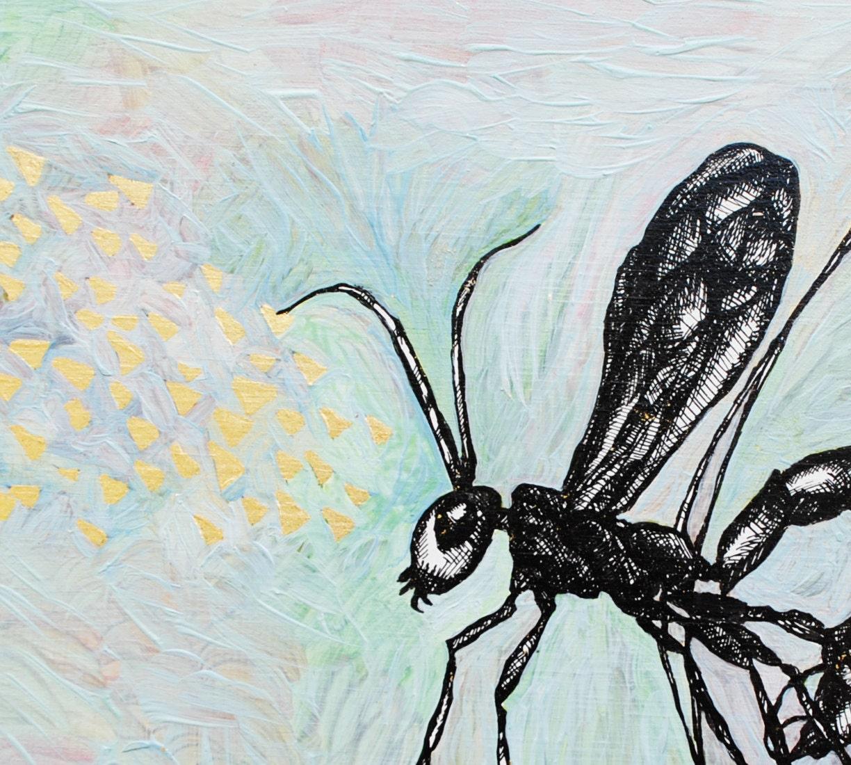 ichneumon wasp - original painting - 6x6 - SorchaMoon