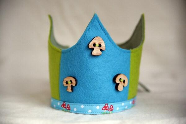 SALE Wool Felt Crown - Blue Green Toadstools
