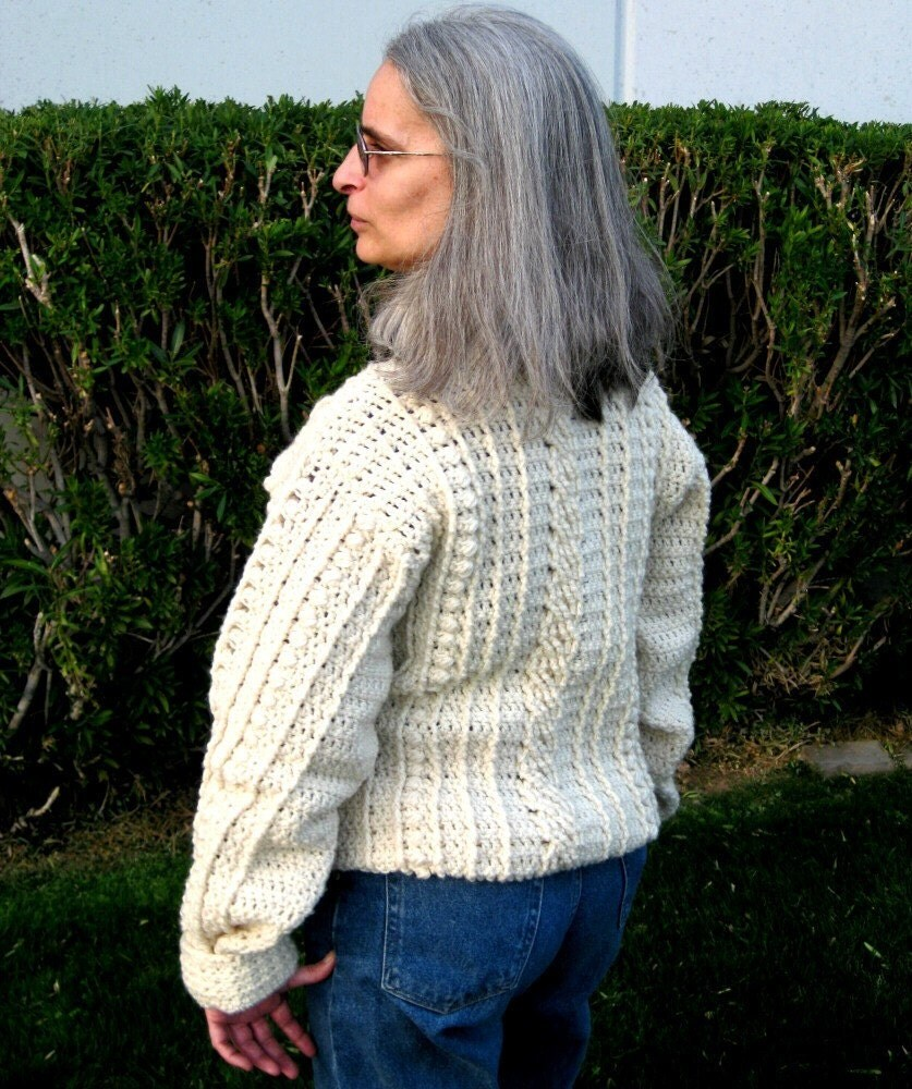 Mens Fisherman Cable Knit Sweater Pattern - Gray Cardigan Sweater