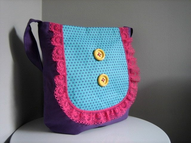 Buttons and Lace Tote Bag - Purple Polka Dot