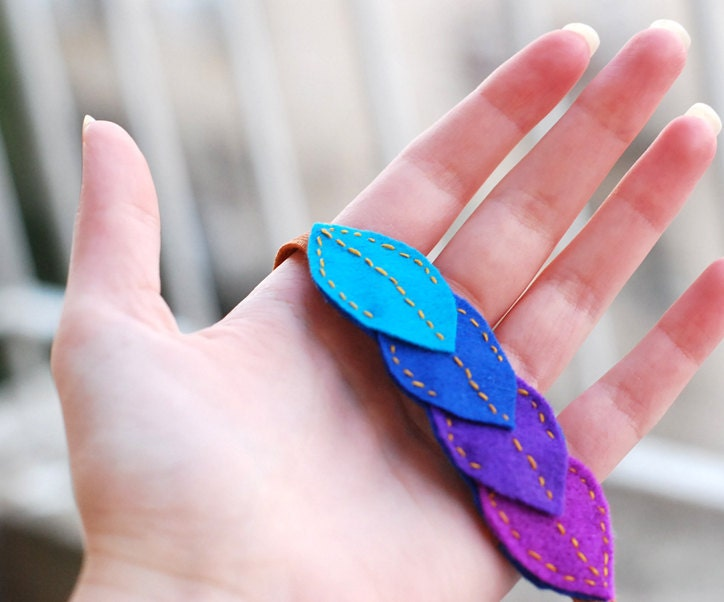 Colorful felt leaves headband : Turquoise, blue and purple