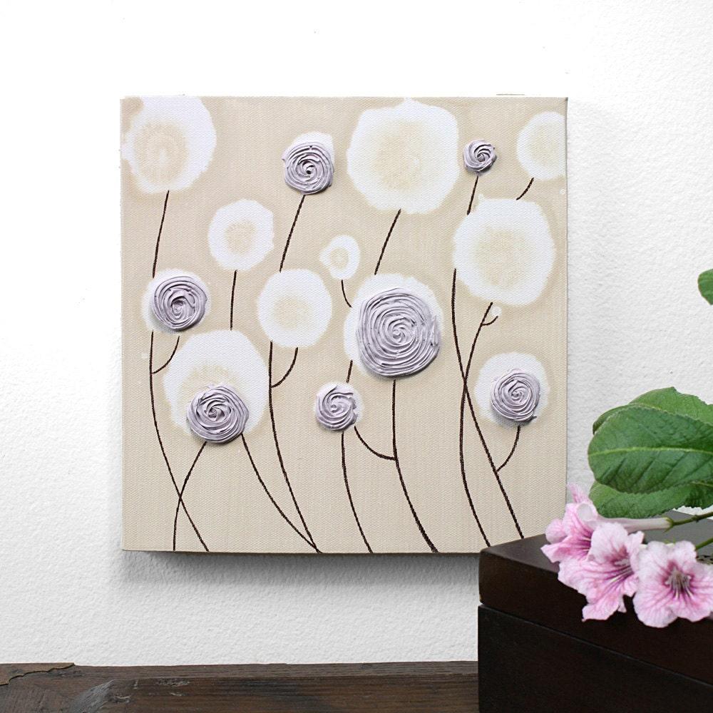 Оригинальная картина роз - текстурированные искусства Холст - лаванды и хаки Детская Decor - 10X10 малого искусства стены