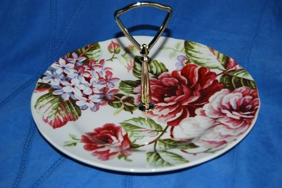 Garden Party Floral Sweets-Appetizer-Tidbit Handled Plate-Hand Drilled