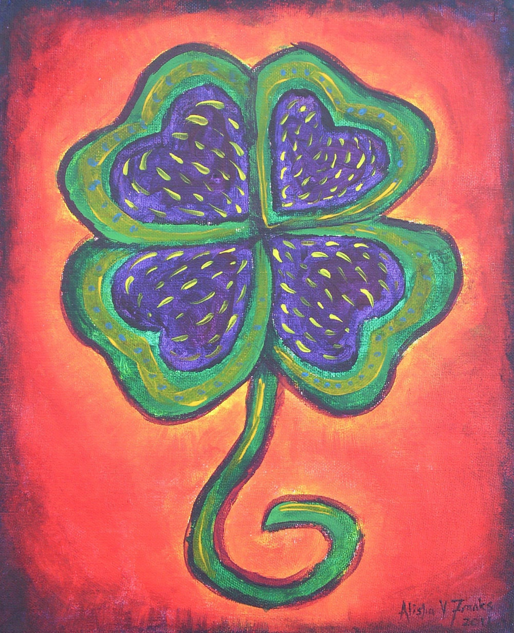 "Lucky Me Acrylic Original Painting - Colorful 4 leaf clover - 11"" x 14"""