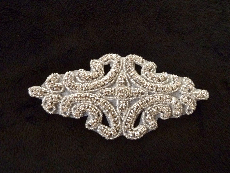 Bridal sash applique, rhinestone applique, beaded applique for wedding belt,6