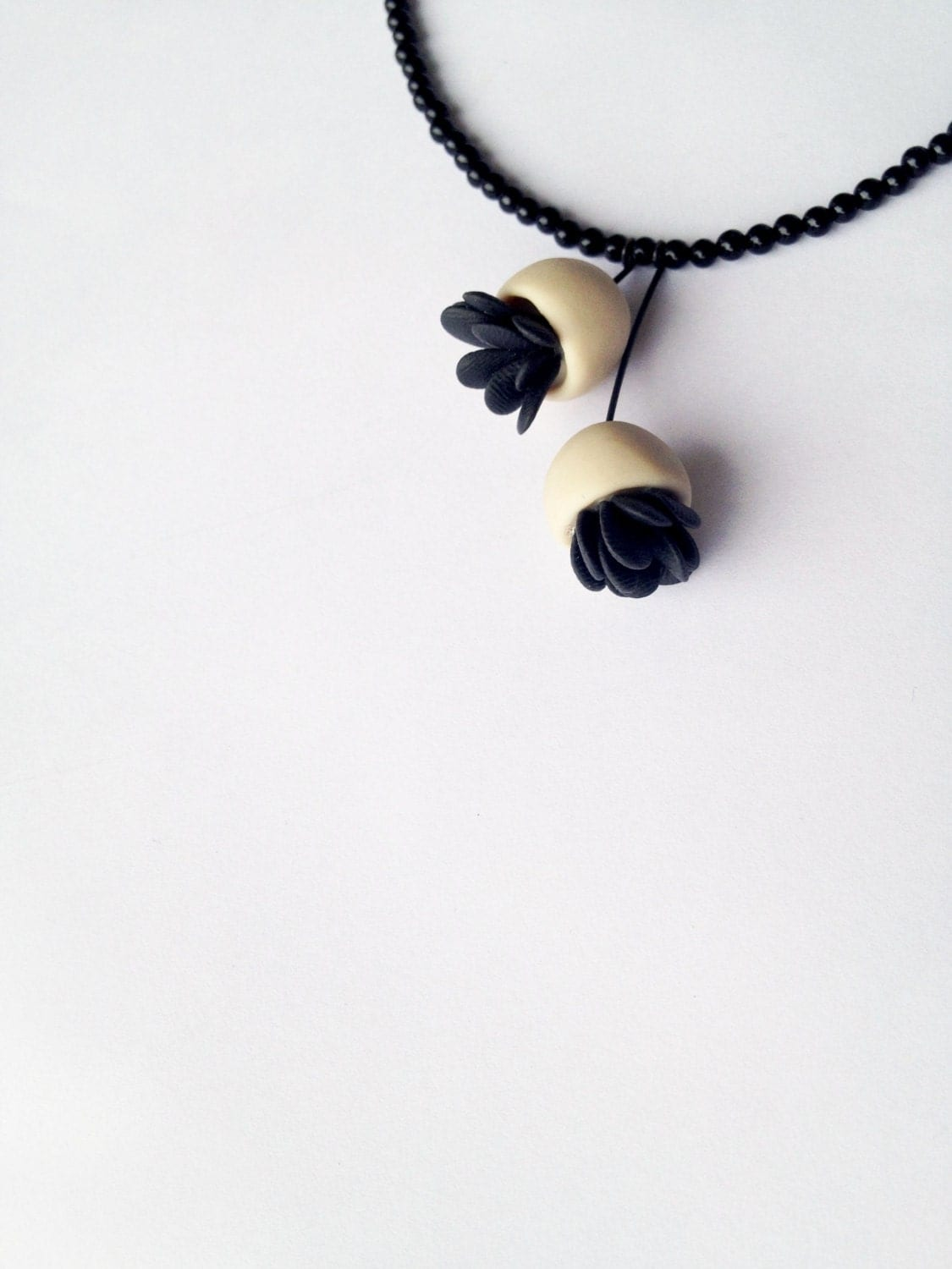 minimal long polymer clay necklace ''nO.214 bell flowers with black leaves'' - eried