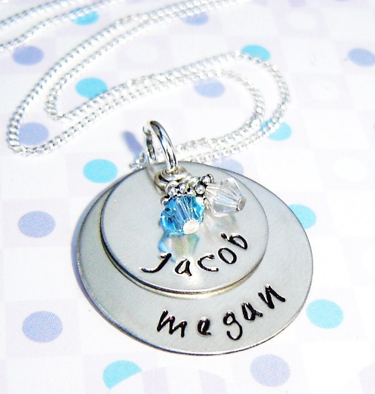 Sterling silver handstamped necklace...  personalized  handstamped  name charm