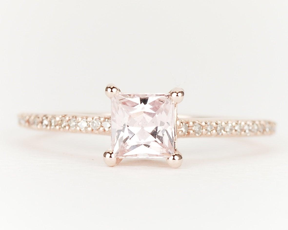 Peach Pink Fancy Sapphire Diamond 14K Rose Gold Engagement Ring