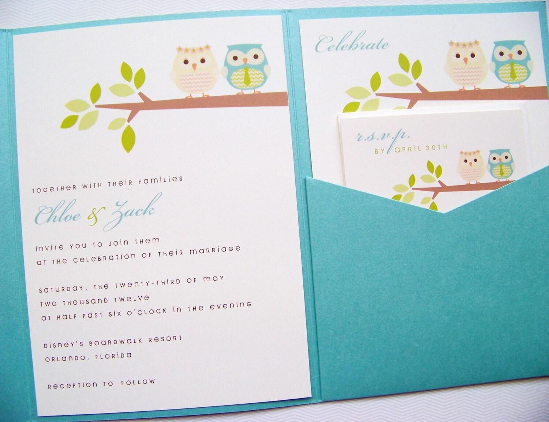 Pocketfold Wedding Invitations - Owl Sweet Wedding Pocketfold Invitation Suite