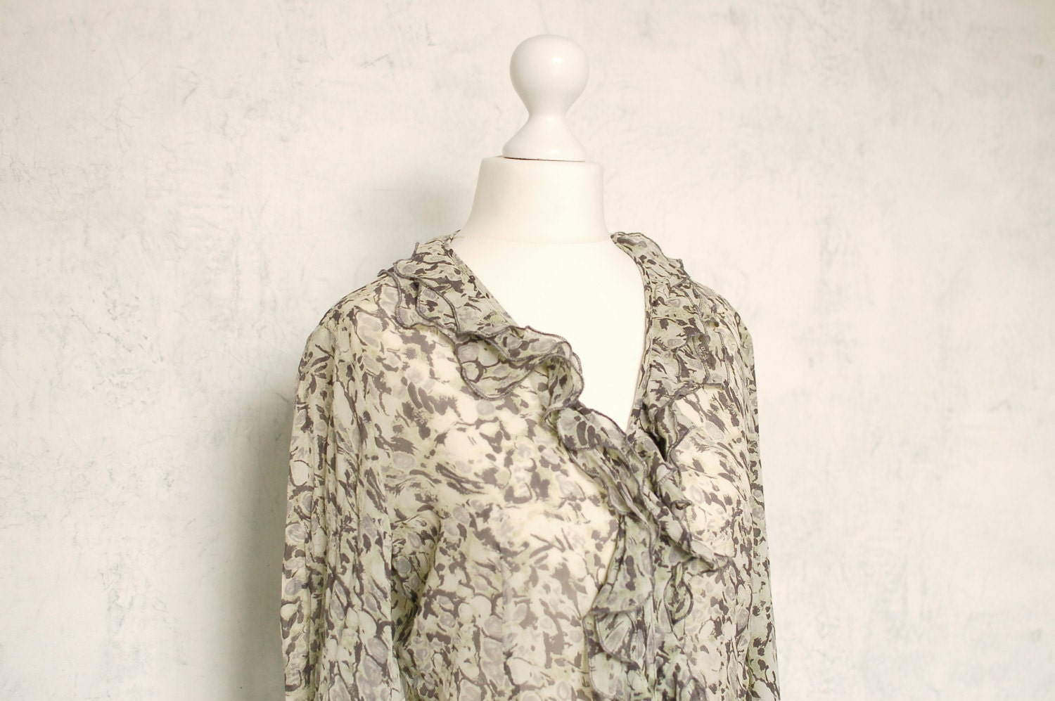 VTG 100% silk 90th blouse olive grey - Silkheaven
