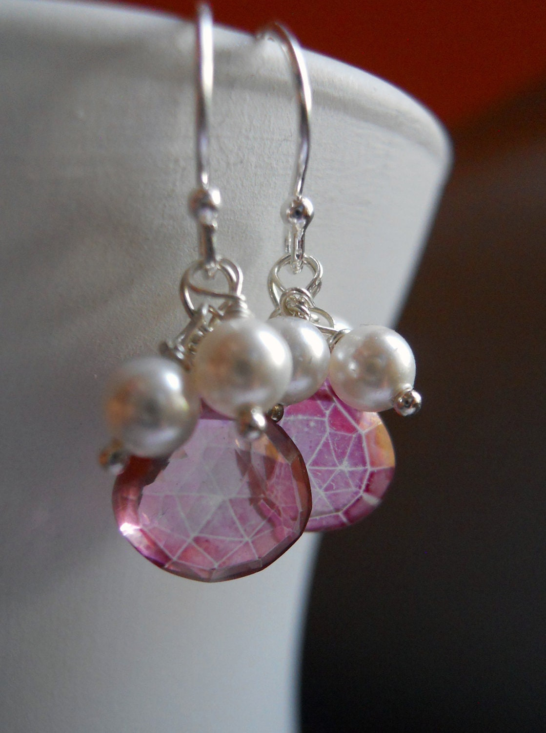Wedding Bells Pink Mystic quartz with pearls Bridesmaid earrings - $38.00 USD