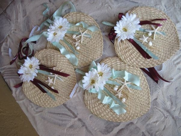 Mint and Brown Starfish and Daisy Natural Straw Rattan Fans for Beach