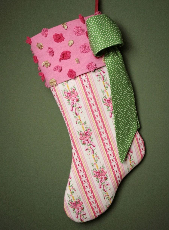 Довольно Розы и вентиляторы Vintage Ticking чулок Рождество - Vintage манжеты синель
