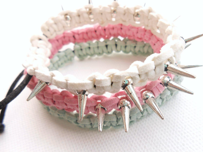 Sales 40% off -  Lot de 3 Bracelets tressés et spikes - couleur rose/blanc/menthe