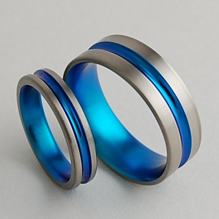 Titanium Wedding Bands  , Dionysus in New Beginning Blue , Price Includes Both Bands