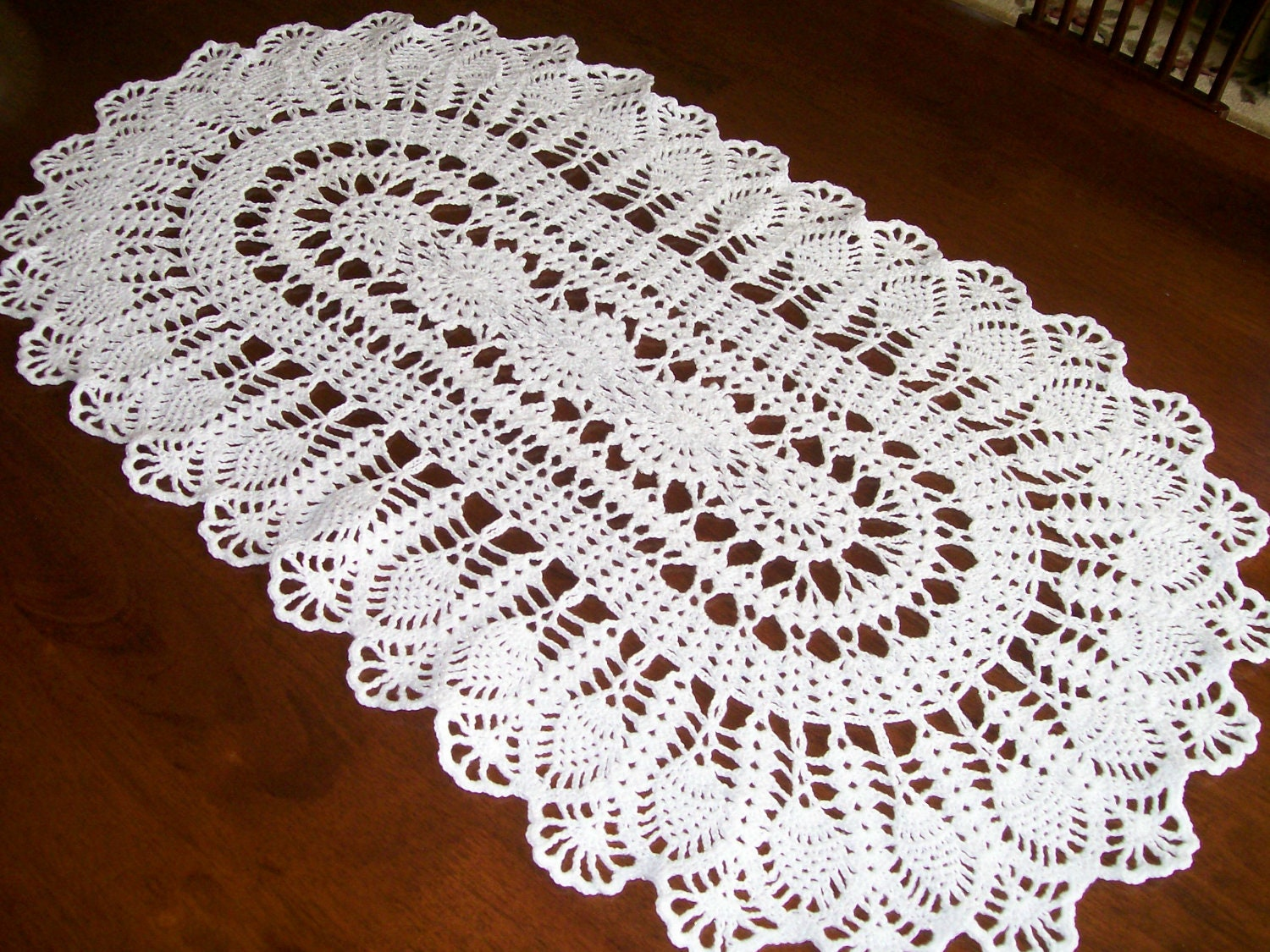 Crochet Free Pattern Table Runner : Crochet White/Silver Sparkle Doily Table Runner FREE by ...