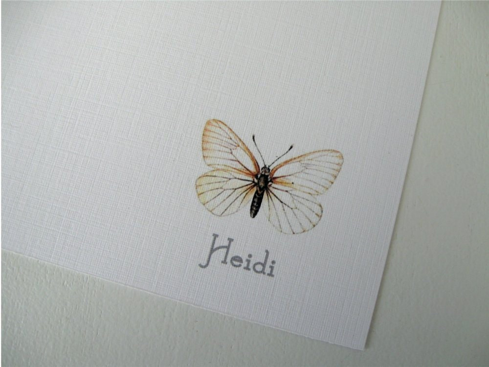 Personalized Stationery Flat Cards Butterfly Set of 10 Mother's Day Gift