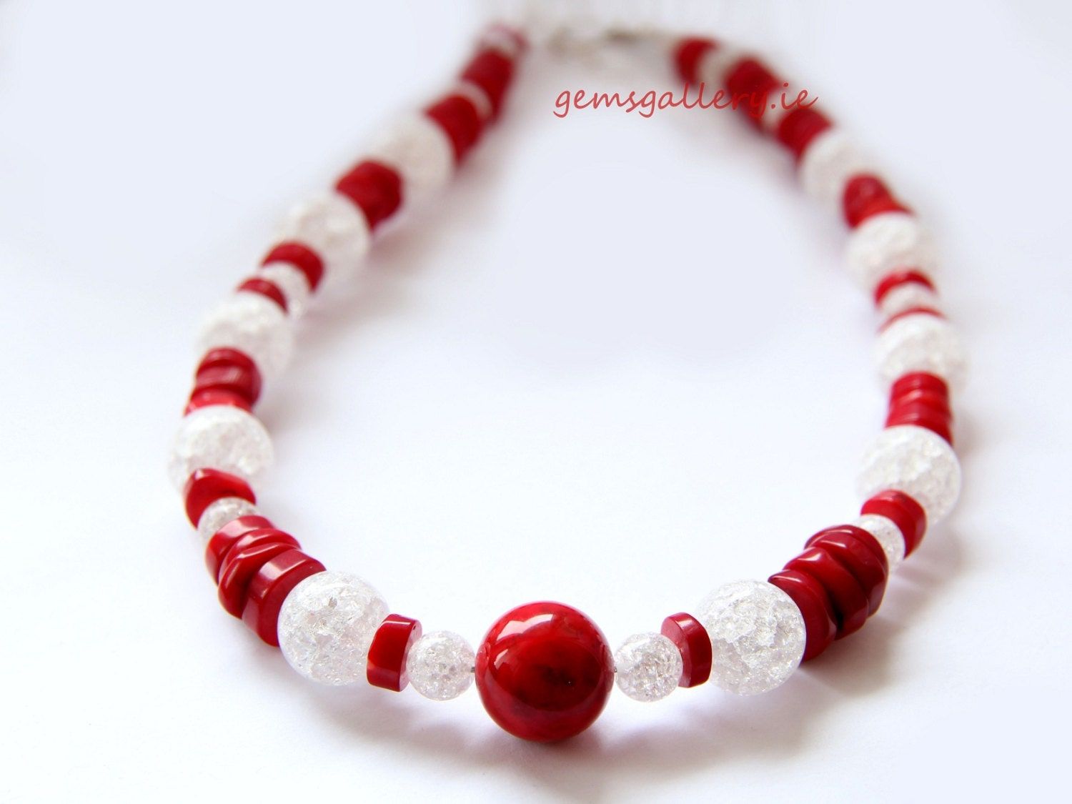 Red Coral, White Crackle Glass & Sterling Silver Necklace - gemsgallery
