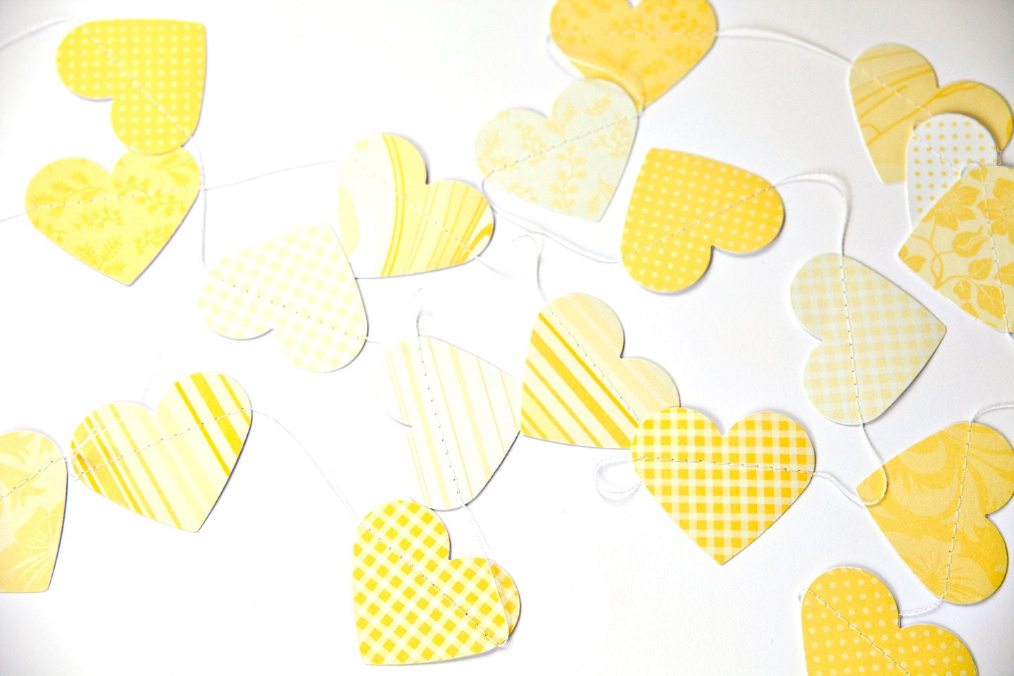 Yellow Heart Garland for Parties, Valentines Day, Weddings, Baby Showers - chickenandcustard