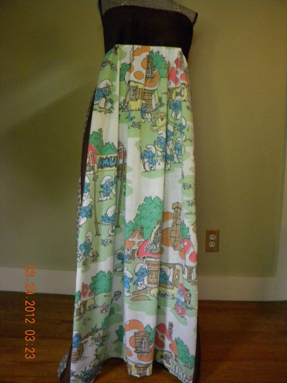 Vintage Smurf Hippie Dress