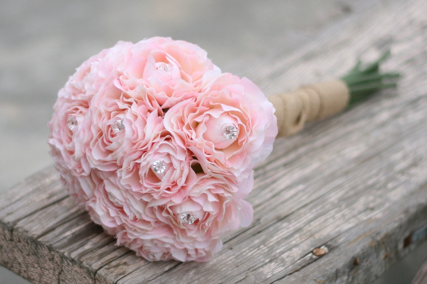 Bride Bouquet Cotton Candy Pink Ranunculus With Diamond Rhinestone Accents Wrapped In Rustic Burlap