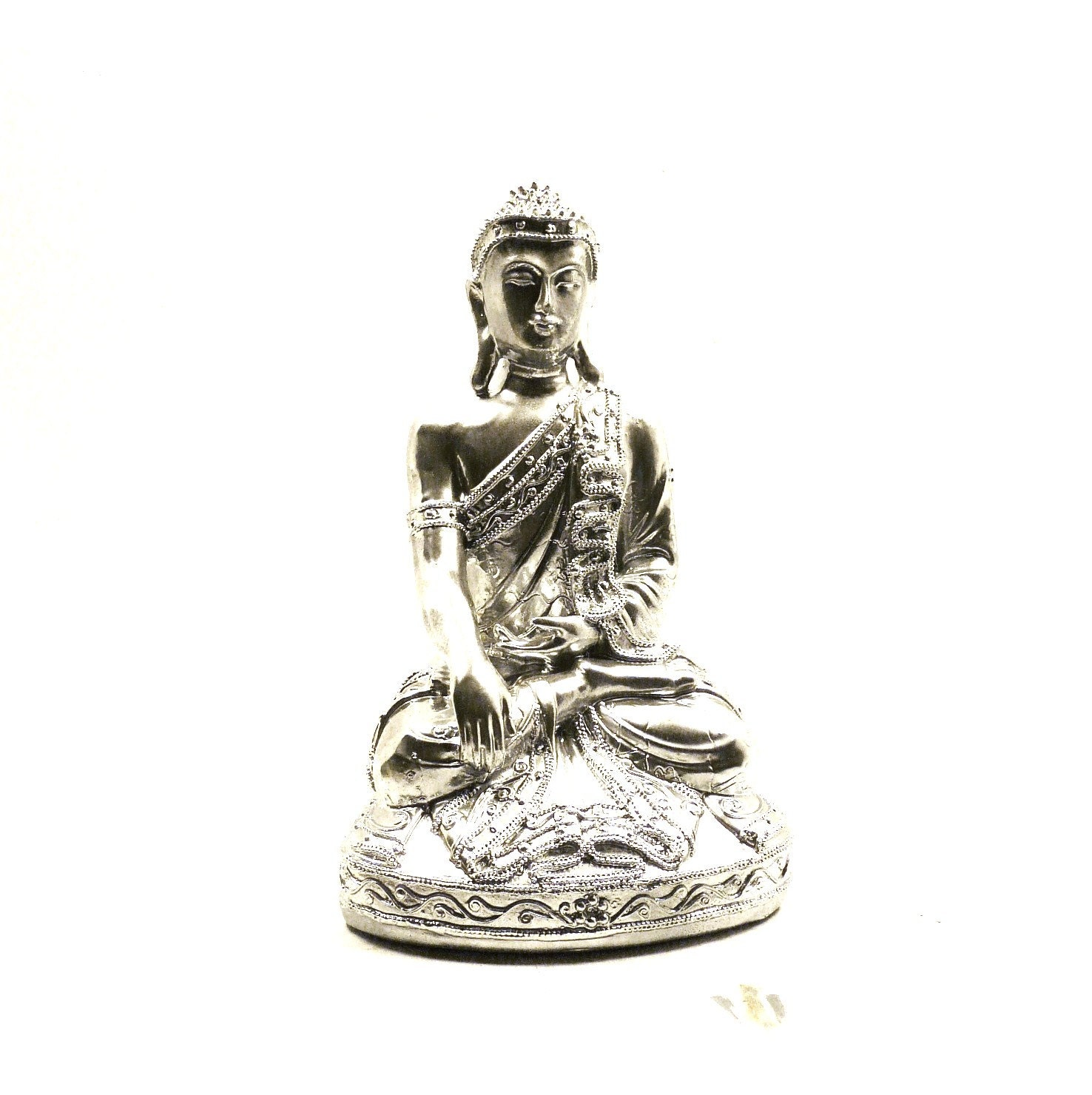 chrome buddha statue bohemian home decor upcycled by nashpop
