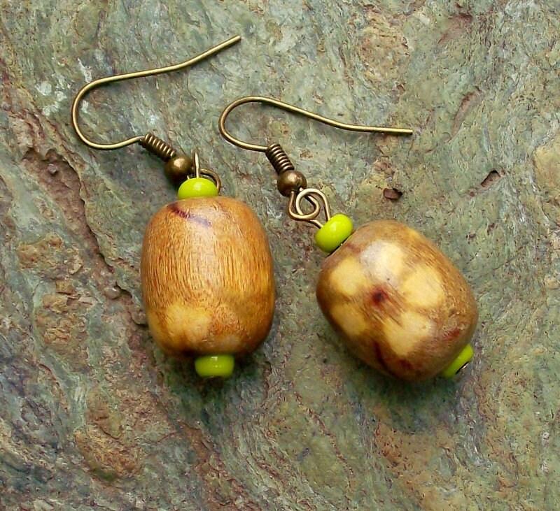 Autumn Wood Brass Earrings - Rustic Woodland Jewelry - Green - Asian Jewelry - stoneandbone