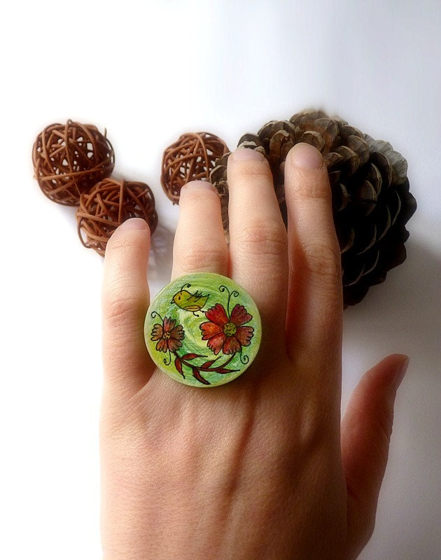 OOAK Ring Hand painted custom - Wall art or Necklace or Brooch or Ring red flower fall autumn green brown harvest - zime