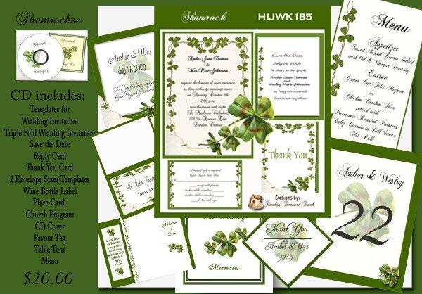 Delux Irish Shamrock Wedding Invitation Kit on CD