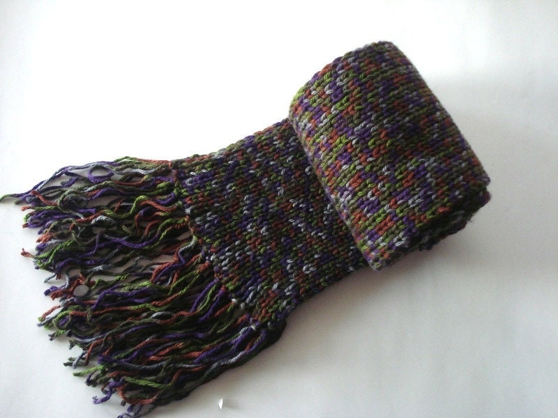 hand knit scarves in dark colors Knitted long by AnatoliaDreams Hand Knitted Men's Scarves