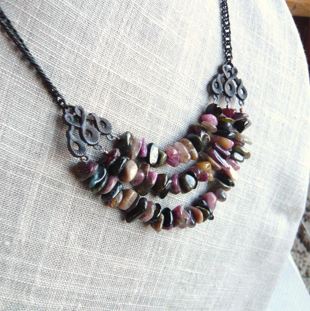 Triple Tourmaline Stone Necklace