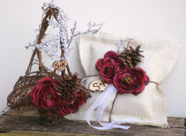Пользовательские персонализированного корзины Девушка цветов и кольцо на предъявителя SET деревенском Зимний Лесной Свадебный