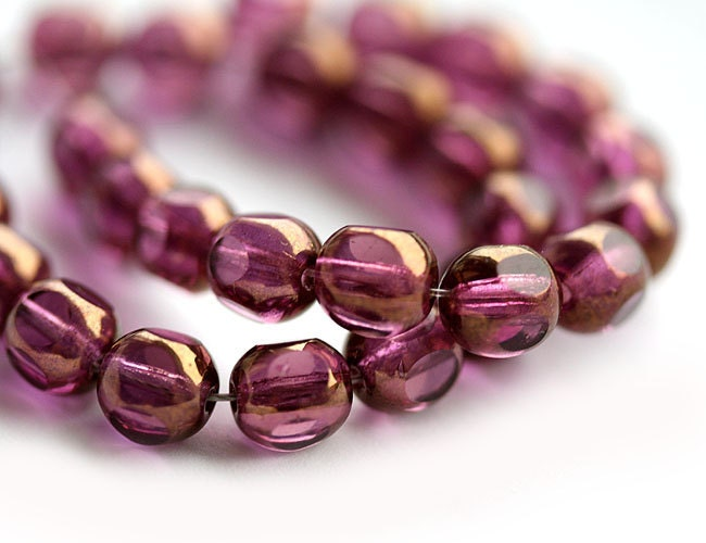Violet purple czech glass beads - dark Amethyst with luster - round cut spacers - 6mm - 30pc - 0112 - MayaHoney