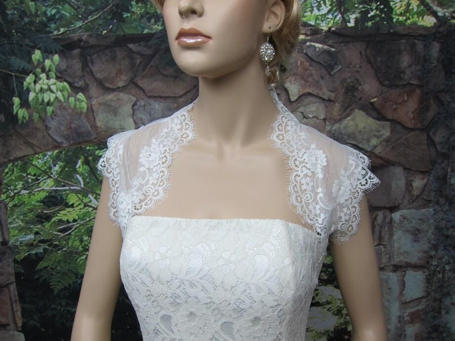 Ivory sleeveless bridal dot lace wedding bolero jacket