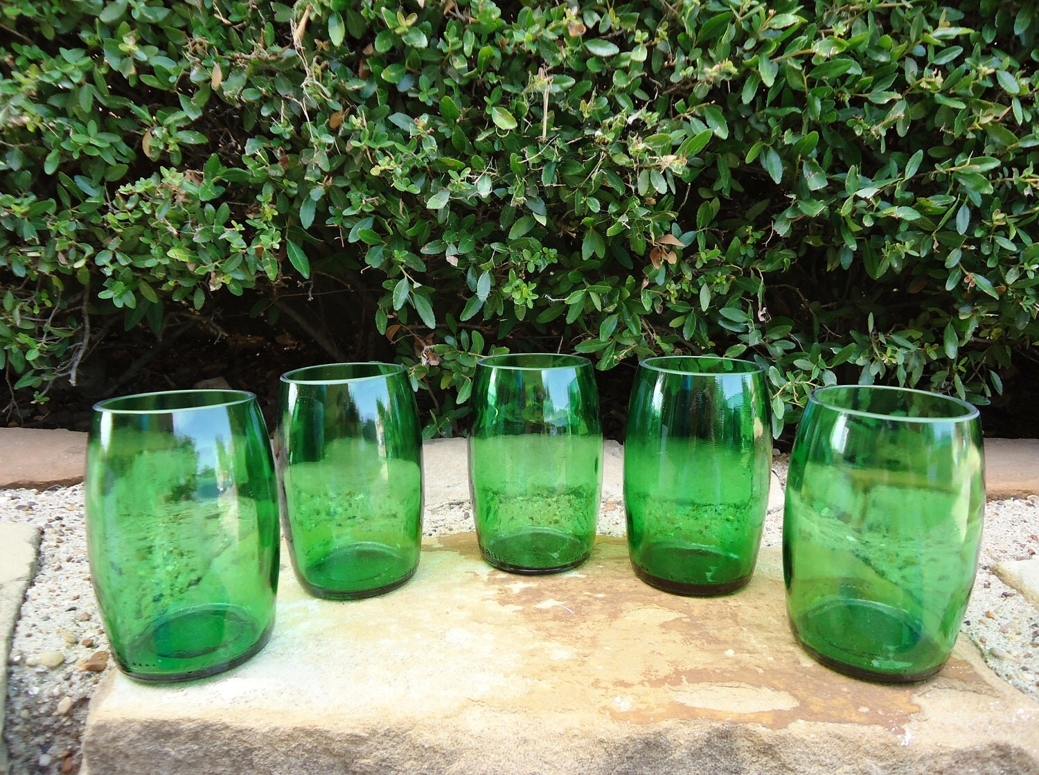 Green Shot Glass Hand Grenades made from Upcycled Perrier Bottles Set of 5