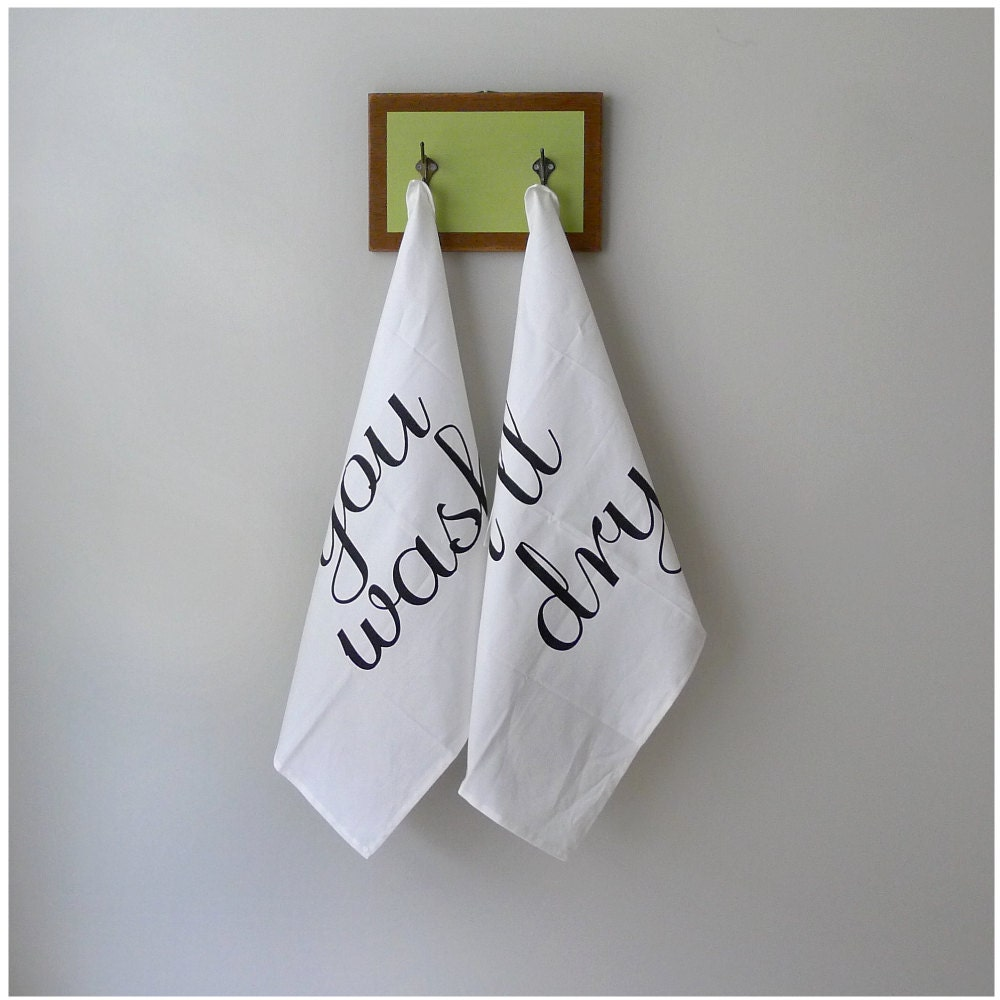 Tea(m) Towels - tea towel set of 2 - fair trade organic cotton - eco-friendly kitchen towels - wedding gift / housewarming gift - blackbirdtees