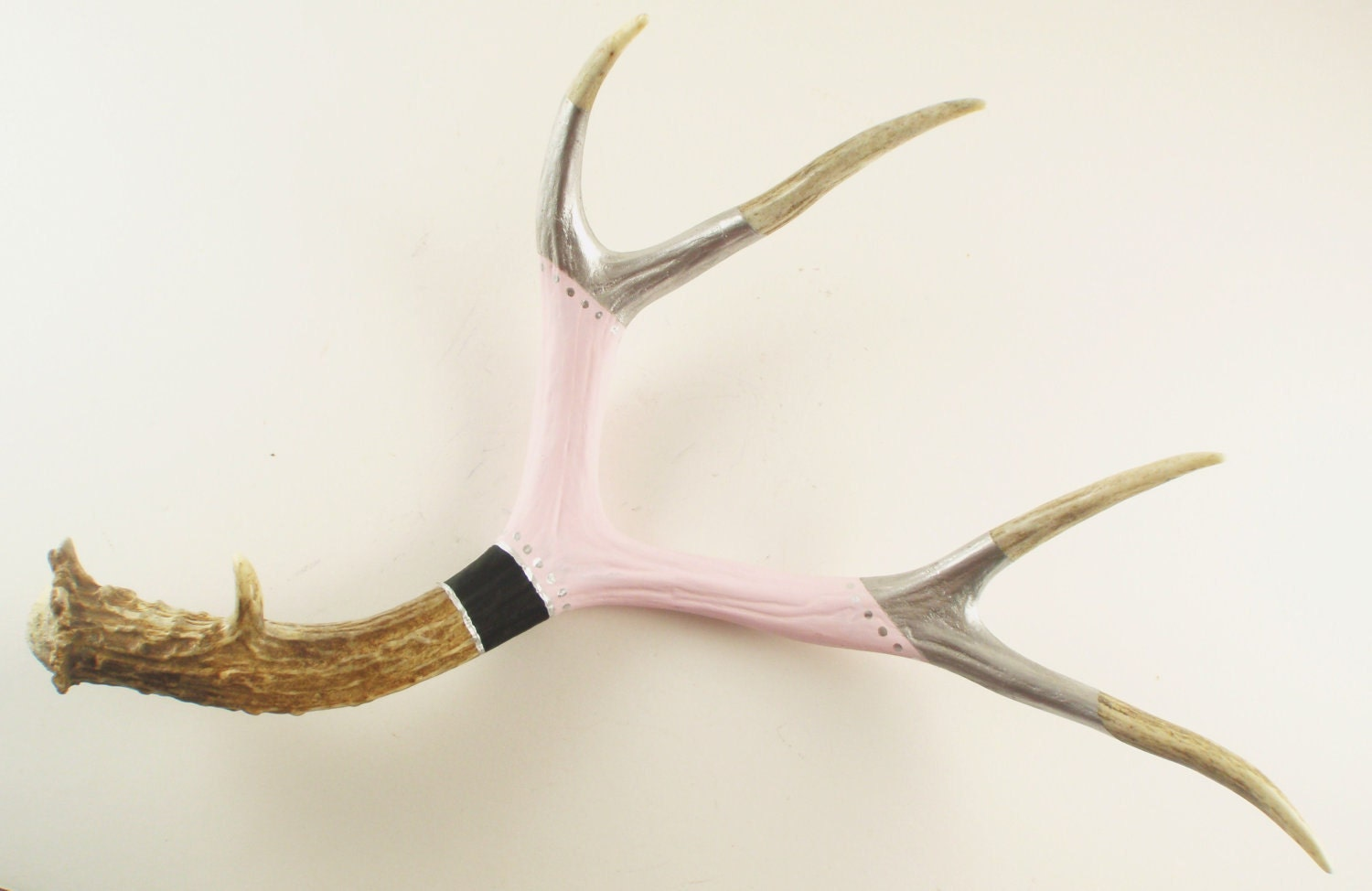 Large Deer Antler Art Scuplture- Painted Pale Pink, Black, Silver