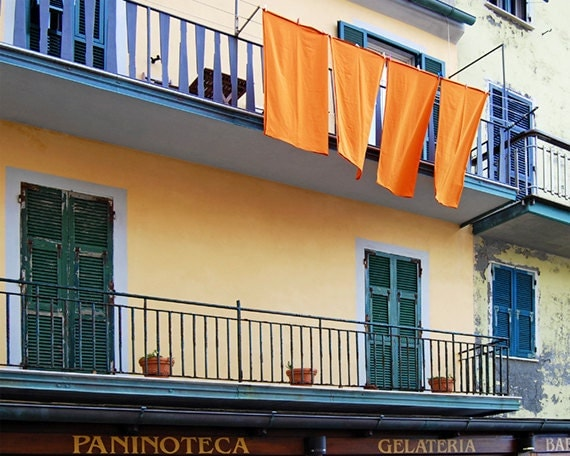 Italy, Cinque Terre, Manarola, Village Street Scene, Photo, Laundry Clothesline, Orange, 8x10