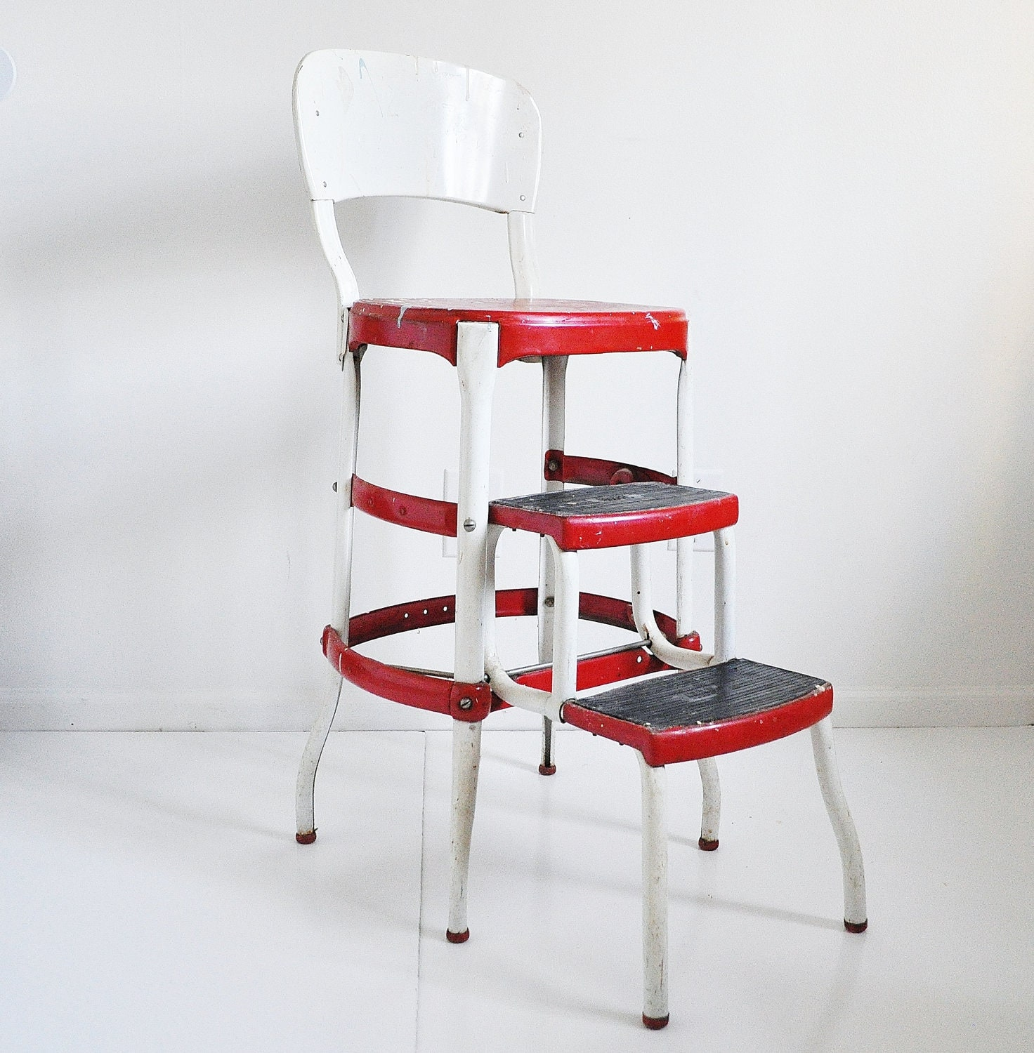 Red and White Paint-Splattered Cosco Stool - thewhitepepper