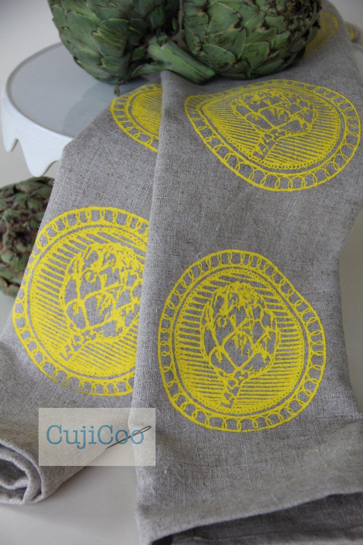 Linen Tea Towel screen printed with Yellow Artichokes on 100% natural linen - CujiCoo