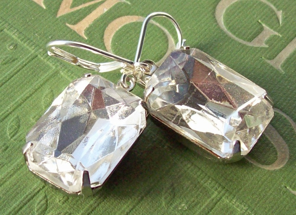 Vintage Earrings, Estate Style Jewelry, Clear Crystal, Vintage Wedding, Bridal Jewelry