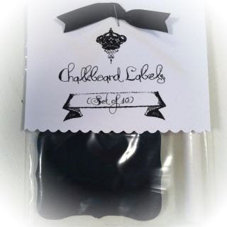Set of 10 Chalkboard Vinyl Adhesive Labels, Tags, Shabby Scroll Rectangle Shape FREE Shipping