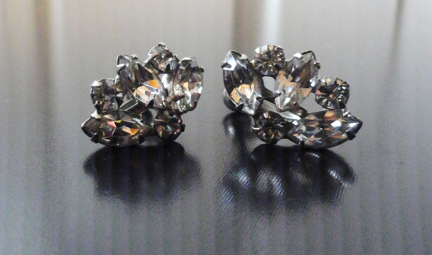 Vintage Earrings Clear Crystal 50s 60s Screw Clip On Formal Evening Jewelry