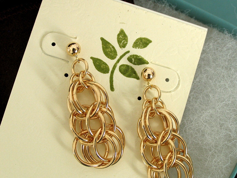 Classic Gold Sphere Dangle Earrings - Chainmail Jewelry - Ready to Ship